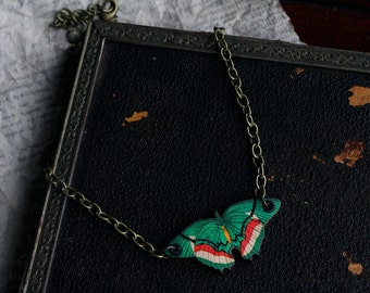 Mini green butterfly vintage natural illustration laser/woodcut necklace