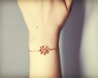 Rose Gold Lotus Flower Bracelet/ Pink Gold Bracelet/ Forest Bracelet/ Woodland Bracelet/ Yoga Bracelet/ Oriental Bracelet