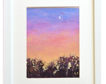 "Original landscape painting Acrylic Sunrise Dawn Moon  modern bright morning daily painting 8"" X 10"" on canvas panel by Garima Parakh"