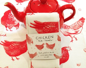 Screen Printed Chicken Teatowel - 100% Cotton - Red Dish Cloth