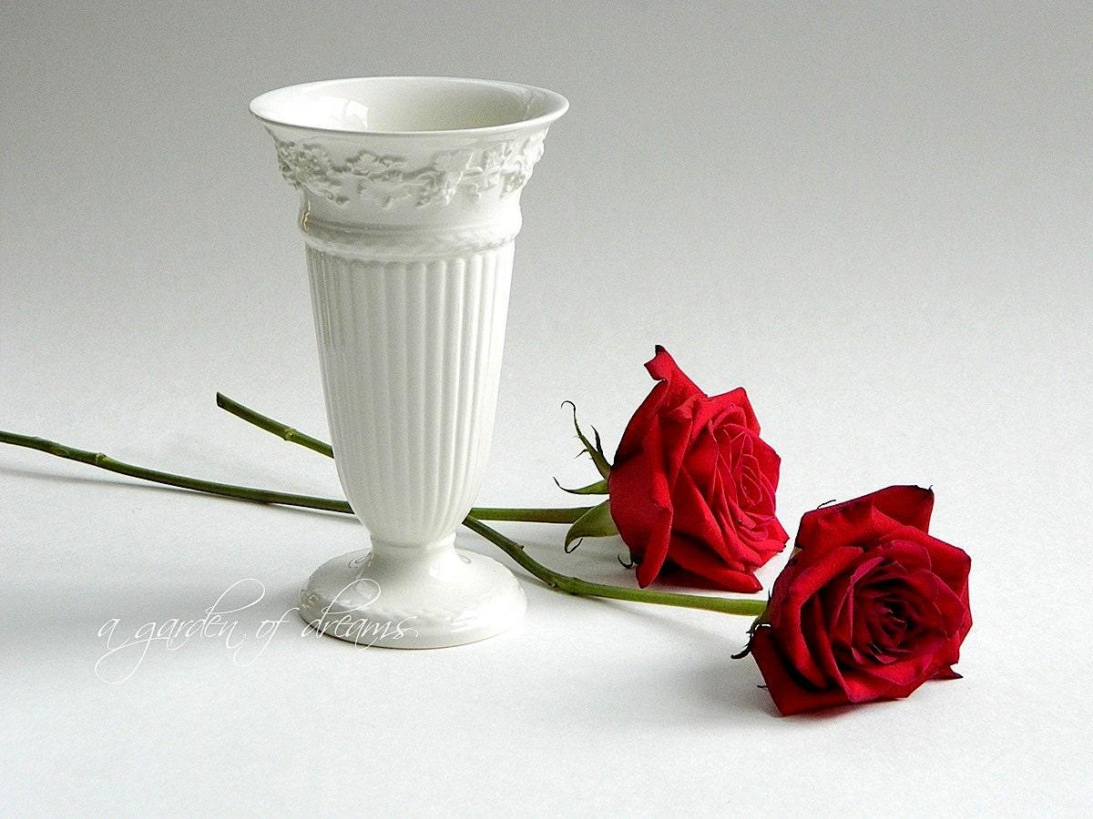 Wedgwood Queensware Vase Embossed Cream On Cream Neoclassical