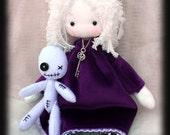 Goth cloth doll Juliet  with purple dress and voodoo doll  friend handmade goth doll. Goth cloth doll, goth rag doll
