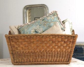 Vintage French Market Basket Wicker Laundry Basket