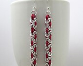 Red and Silver Chainmaille Earrings - Byzantine Weave Earrings - Handmade Chainmail
