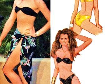 80s McCall's Pattern 9608 Brooke Shields Collection Teeny Kini w Pareo Sz 12-16 Uncut FF Celebrity Design Beach & Resort Wear Sewing Pattern