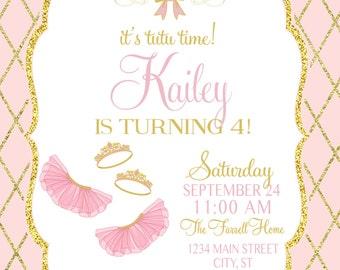 ON SALE Tutu Birthday Invitation, Tutu Invite Ballerina Party, Ballerina invitation