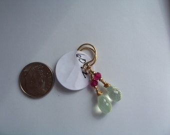 Prehnite ruby earrings 14k gold filled MLMR item 607z