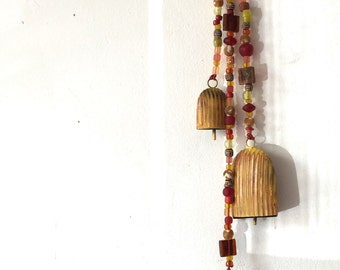 Hanging String of Bells, Beaded Strings, Loud Bells, Garden Chimes, Fiery Red, Yellow, Gold, Porch Bells, Folk Art Outside, Mobile, Ringing