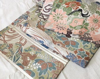 Crane & Hand Drum Pattern Fukuro Obi, Kimono Belt, Table Runner, Wall Hangings, Craft Suplies, 1930s, FREE SHIPPING