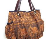 Women bag Handbags Thai Cotton bag Elephant bag Hippie bag Hobo bag Boho bag Shoulder bag Tote bag Diaper bag Everyday bag Purse Brown