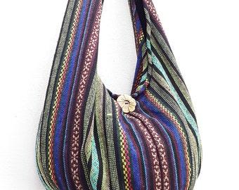 Woven Bag Handbags Purse Tote Thai Cotton Bag Tribal bag Hippie bag Hobo bag Boho bag Shoulder bag Women bag Everyday bag Short Strap (WF3)