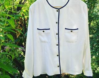 Nautical long sleeved blouse
