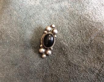Mexico Silver Obsidian Taxco Pendant