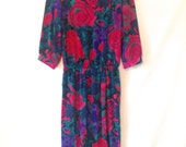 vintage dress / 1980s floral dress / pink, green, purple dress / 1980 80s vintage dress / 80s size medium dress / vintage day dress