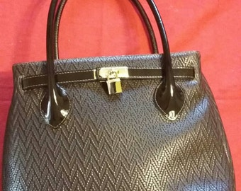 Brown genuine italian calf leather handbag