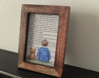 Winnie the Pooh A A Milne Christopher Robin and Pooh bear art print The House at Pooh Corner nursery children's books new baby boy shower