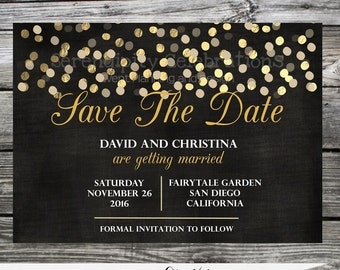 Chalkboard, Save the Date, Gold Foil, Save the Date Cards, DIY Save the date, Wedding Save the Date Cards, Printable Save the Date Cards