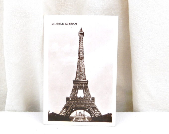 Antique Art Deco French Black and White Postcard, Eiffel Tower, Paris / Parisian Souvenir Retro Vintage Home Interior / French Country Decor