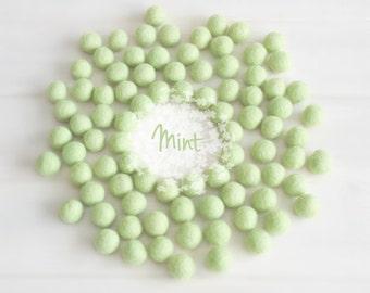 Wool Felt Balls - Size, Approx. 2CM - (18 - 20mm) - 25 Felt Balls Pack - Color Mint-1010 - Wool Felt Pom Pom - Soft Green Felt Balls