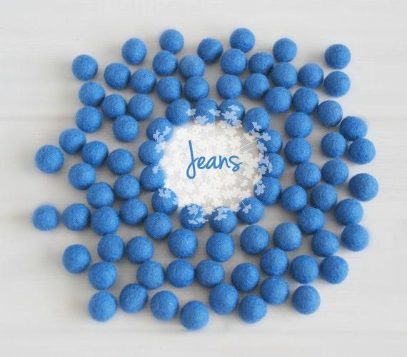 Wool Felt Balls - Size, Approx. 2CM - (18 - 20mm) - 25 Felt Balls Pack - Color Jeans-2080 - Wool Balls - Pom Poms - Jeans Blue Felt Balls