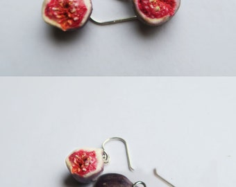 Fig earrings - fruit jewelry, fruit earrings, fig earrings, food jewelry, food earrings, miniature food, fig jewelry