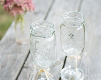 Clearance Sets of 2 Redneck Wine Glasses 16oz Mason Jar Wine Glasses