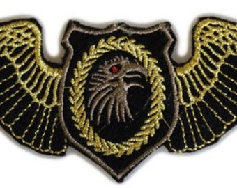 2 Iron On Military looking BADGES PATCHES:  Eagle Wings and Sergeants Stripes - Heavy Metal Style!