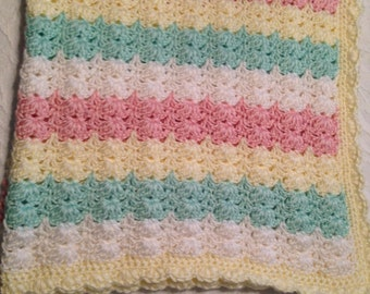 Hand-made Crochet Candy Stripe Baby Afghan Blanket - Perfect for Boy or Girl