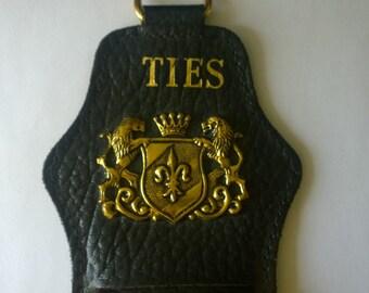 Mens Tie Rack Holder - Vintage Leather
