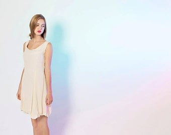 Flowy, Light, Handmade Bubble Ivory Princess Seam Tank Silk Dress; Lined, size small