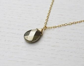 Summer SALE - Gold pyrite necklace, Pyrite pendant, Drop necklace