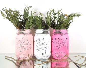 Pink Mason Jar Set, Cottage Chic Decor, Cabin Decorations, Table Centerpiece, Home Decorating, Rustic Mason Jars, Country Home Decor