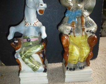 Gorgeous Cetti Chianti Political Bottles - GOP Elephant and Dem Donkey/Mule - in armchairs wearing tophats