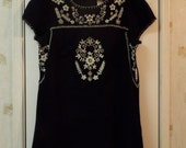 Vintage Women's Embroidered Billabong Size Large Cute Little Black Dress 1990s Boho Hipster
