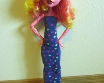 Monster High Doll Dress Blue long dress for 17 inch dolls Gooliope Clawdeen Frankie Draculaura