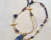 Sodalite, Freshwater Pearl and Glass Beaded Necklace, Bracelet and Earring Jewelry Set