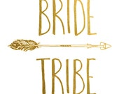 Set of 11 Bride Tribe Temporary Bachelorette Party Favor | Bachelorette Tattoo | Gold tattoo | Bridal Party| Bridesmaid gift|  Hen Party
