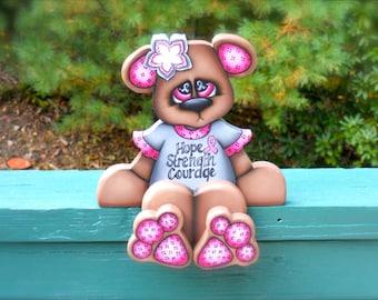 "Breast cancer awareness bear ""Bonita"" hand made wood craft"