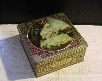 Lovely Vintage Tin Box, Age of Innocence, Joshua Reynolds, Romantic Box, Decorative Tin Box, Cottage Chic, Trinket Box, Vintage Vanity