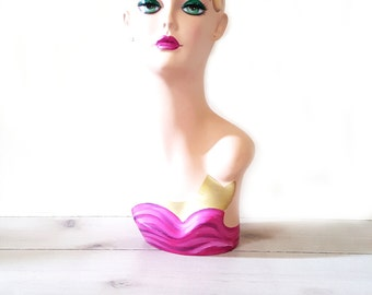 Mannequin ~ Female Hand-painted Mannequin Head For Jewelry And Hat Display