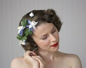 """Flower Hair Garland, Blue Floral Wreath, Columbine Headpiece, 1950s Spring Fascinator, Vintage Crown, Hair Clip Women - """"Doorway to Dreams"""""""