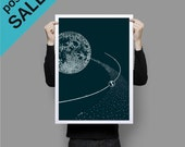 ON SALE Moon and Earth Poster Print Wall Art Teal