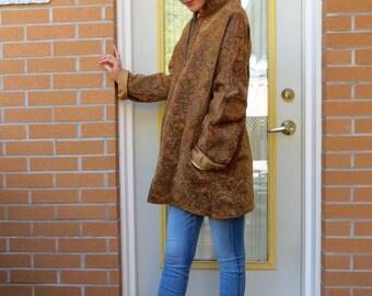 70s Martha Anne Tapestry Coat, Velvet Dijon Mustard Brown, Women US Size Small to Medium