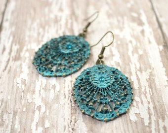 Turquoise Verdigris Patina Earrings - Turquoise Earrings - Long Filigree Earrings - Antique Gold Jewelry - Vintage Style Jewelry