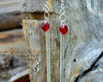 Long Chain Earrings | Tassel Earrings | Red Heart Earrings | Submissive Jewelry | Chain Chandelier Earrings with Red Swarovski Crystal Heart