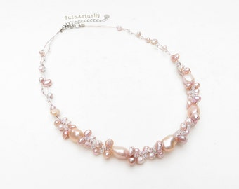 Pink freshwater pearl necklace with glass beads on silk thread, bridesmaid necklace, peach
