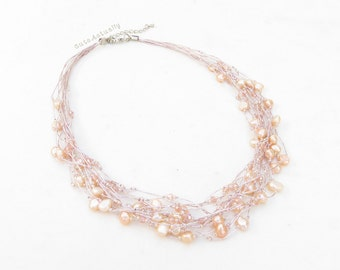 Pink peach freshwater pearl necklace on silk thread, pink pearl necklace, wedding jewelry, bridesmaid necklace, multistrands
