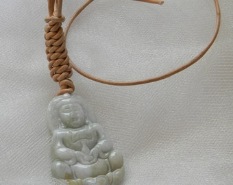 Jade Kwan Yin pendant w leather cord necklace , Buddhist religious icon , Goddess of Mercy & compassion , delicate Buddhist icon , jade