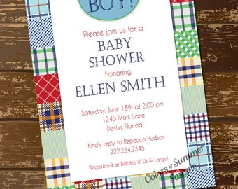 Madras Invitation, Madras Baby Shower Invitation, Baby Boy Invitation, It's a Boy Invite, Plaid Invitation, Preppy Baby Invite, Digital File