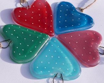 Fused Glass Spotty Heart Hanger